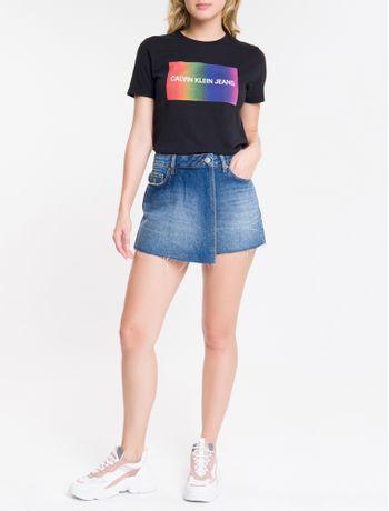 Shorts-Saia-Jeans-Feminino-Five-Pockets-Cintura-Baixa-Azul-Marinho-Calvin-Klein