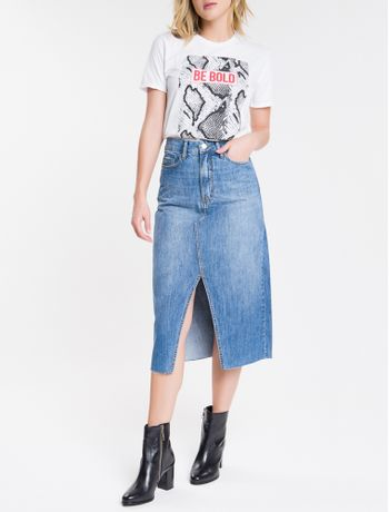 Saia-Jeans-Feminina-Midi-Cintura-Alta-Azul-Medio-Calvin-Klein