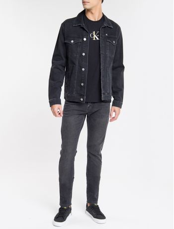 Jaqueta-Jeans-Masculina-Trucker-Bordado-CK-One-Preta-Calvin-Klein