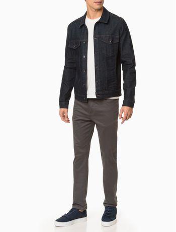 Jaqueta-Jeans-Masculina-Trucker-Botoes-Pretos-Azul-Marinho-Calvin-Klein