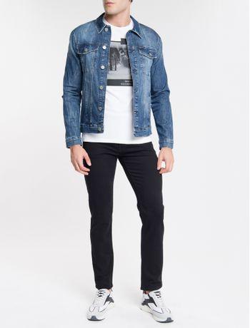 Jaqueta-Jeans-Masculina-Trucker-Etiqueta-Metalizada-Prata-Azul-Marinho-Calvin-Klein