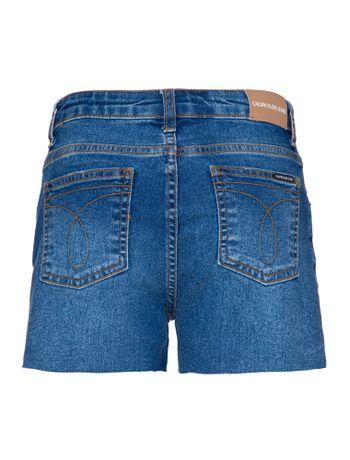 Shorts-Jeans-Infantil-Feminino-Five-Pockets-Cintura-Alta-Azul-Medio-Calvin-Klein