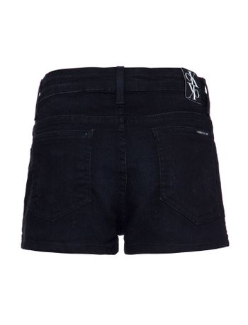 Shorts-Jeans-Feminino-Infantil-Five-Pockets-Cintura-Alta-Preto-Calvin-Klein
