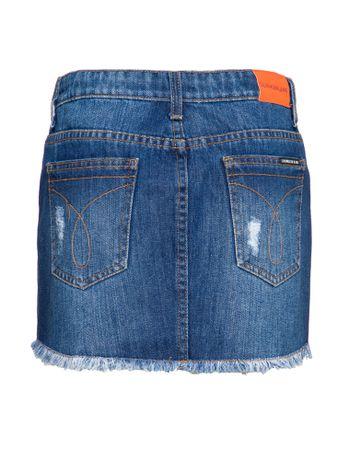 Saia-Jeans-Infantil-Feminina-Five-Pockets-Azul-Medio-Calvin-Klein