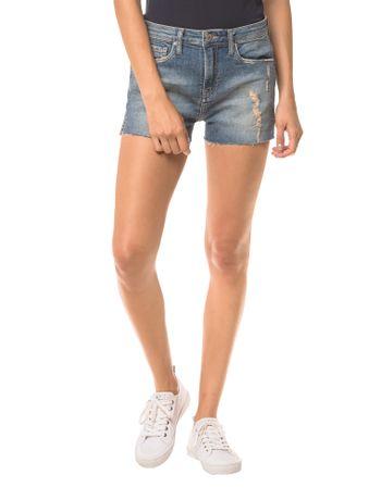 Shorts-Jeans-Feminino-Five-Pockets-Etiqueta-Metalizada-Azul-Claro-Calvin-Klein-