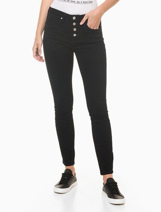 Calca-Jeans-Feminina-Five-Pockets-Skinny-Cintura-Alta-Preta-Calvin-Klein---34