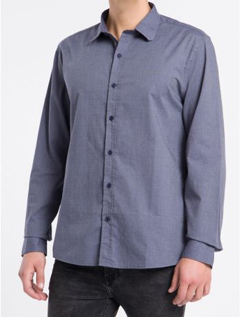 Camisa-Ml-Reg-F-Liso-S-Bols-Amac-Fil---Azul-Marinho---P