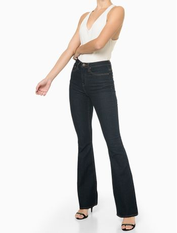 Calca-Jeans-Five-Pockets-High-Rise-Flare---Azul-Marinho---34
