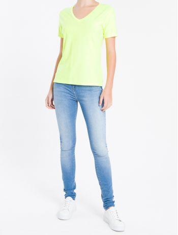Camiseta-Decote-V-Calvin-Klein---Amarelo---PP