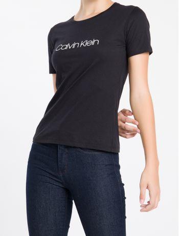 Camiseta-Gola-Careca-Calvin-Klein---Preto---PP