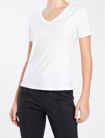 Camiseta-Decote-V-Calvin-Klein---Branco---PP