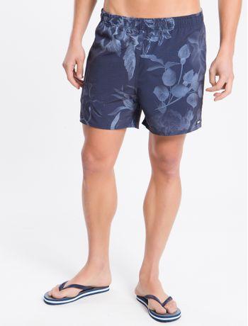 Shorts-Dagua-Estamp-Microelast-Floral---Azul-Marinho---P