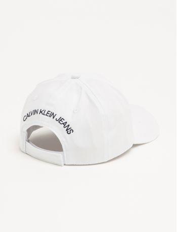 Bone-Ckj-Aba-Curva-5-Gomos-Lona-Logo-Vel---Branco---U