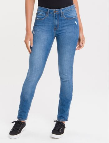 Calca-Jeans-Feminina-Five-Pockets-Skinny-Cintura-Media-Azul-Medio-Calvin-Klein