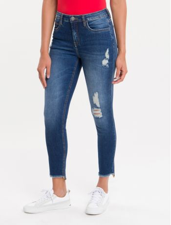 Calca-Jeans-Feminina-Five-Pockets-Super-Skinny-Cintura-Media-Azul-Marinho-Stone-Calvin-Klein