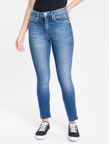 Calca-Jeans-Feminina-Six-Pockets-Skinny-Cintura-Alta-Azul-Marinho-Calvin-Klein