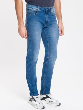 Calca-Jeans-Masculina-Five-Pockets-Slim-Destroyed-Cintura-Baixa-Azul-Medio-Calvin-Klein