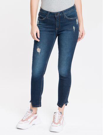Calca-Jeans-Feminina-Five-Pockets-Skinny-Cintura-Media-Azul-Marinho-Calvin-Klein