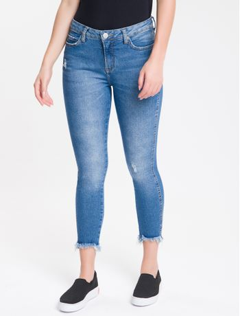 Calca-Jeans-Feminina-Five-Pockets-Super-Skinny-Destroyed-Cintura-Media-Azul-Claro-Calvin-Klein