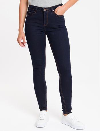 Calca-Jeans-Feminina-Five-Pockets-Super-Skinny-Bordado-Triplo-Cintura-Media-Azul-Marinho-Calvin-Klein