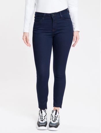 Calca-Jeans-Feminina-Five-Pockets-Super-Skinny-com-Stretch-Cintura-Media-Azul-Marinho-Calvin-Klein