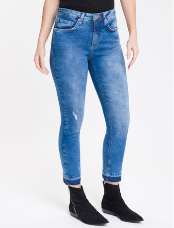Calca-Jeans-Feminina-Five-Pockets-Slim-Stone-Cintura-Alta-Azul-Medio-Calvin-Klein-