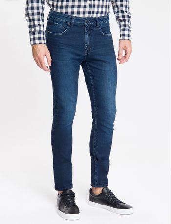 Calca-Jeans-Masculina-Five-Pockets-Super-Skinny-Used-Cintura-Baixa-Azul-Marinho-Calvin-Klein