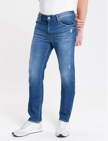 Calca-Jeans-Masculina-Five-Pockets-Slim-Cintura-Baixa-Azul-Medio-Calvin-Klein