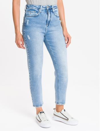 Calca-Jeans-Feminina-Mom-Cintura-Super-Alta-Azul-Claro-Calvin-Klein