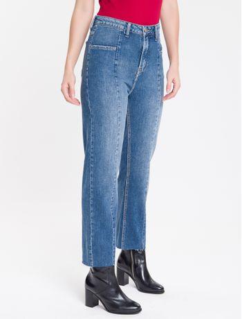 Calca-Jeans-Feminina-Five-Pockets-Reta-Cintura-Alta-Azul-Medio-Calvin-Klein