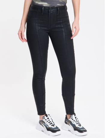 Calca-Jeans-Feminina-Five-Pockets-Super-Skinny-Cintura-Media-Preta-Calvin-Klein