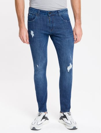 Calca-Jeans-Masculina-Five-Pockets-Body-Skinny-Used-Cintura-Baixa-Azul-Marinho-Calvin-Klein