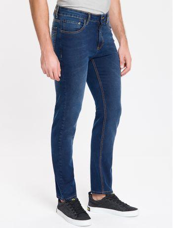 Calca-Jeans-Masculina-Five-Pockets-Reta-Cintura-Baixa-Azul-Marinho-Calvin-Klein
