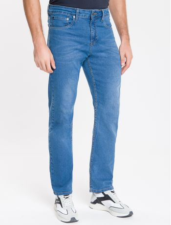 Calca-Jeans-Masculina-Five-Pockets-Reta-Used-Cintura-Regular-Azul-Medio-Calvin-Klein
