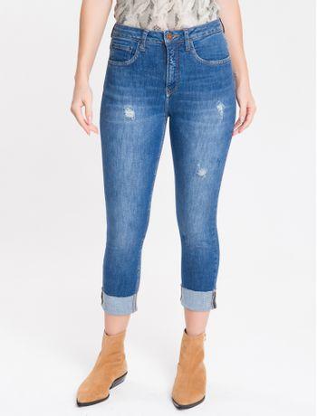 Calca-Jeans-Feminina-Five-Pockets-Slim-Cintura-Alta-Azul-Medio-Calvin-Klein-