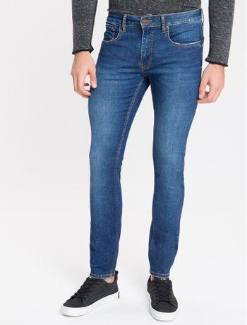 Calca-Jeans-Masculina-Skinny-com-Premium-Stretch-Cintura-Baixa-Azul-Marinho-Calvin-Klein