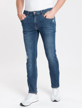 Calca-Jeans-Masculina-Slim-com-Premium-Stretch-Cintura-Baixa-Azul-Marinho-Calvin-Klein