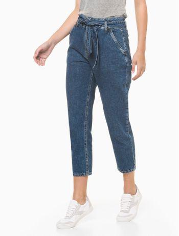Calca-Jeans-Feminina-Balloon-Cintura-Media-Azul-Medio-Calvin-Klein