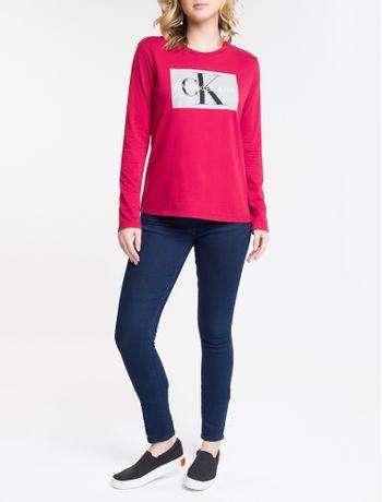 Calca-Jeans-Feminina-Five-Pockets-Skinny-Stone-Cintura-Media-Azul-Marinho-Calvin-Klein
