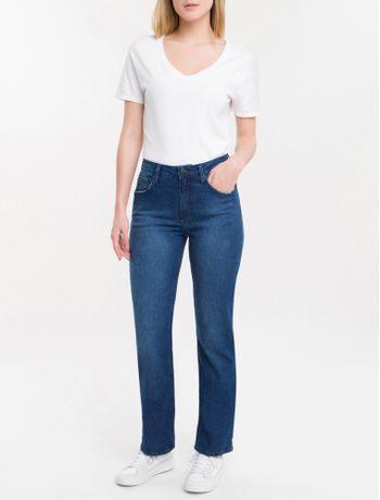 Calca-Jeans-Feminina-Five-Pockets-Reta-Cintura-Media-Azul-Marinho-Calvin-Klein