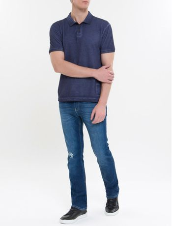 Calca-Jeans-Masculina-Five-Pockets-Slim-Reta-Cintura-Regular-Azul-Medio-Calvin-Klein