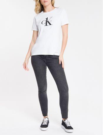 Calca-Jeans-Feminina-Six-Pockets-Skinny-Cintura-Alta-Preta-Calvin-Klein
