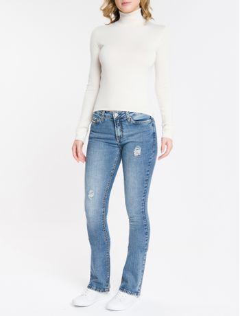 Calca-Jeans-Feminina-Five-Pockets-Kick-Flare-Cintura-Media-Azul-Claro-Calvin-Klein