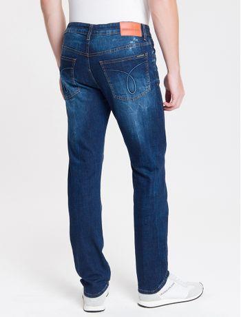 Calca-Jeans-Masculina-Five-Pockets-Slim-Destroyed-Cintura-Baixa-Azul-Marinho-Calvin-Klein