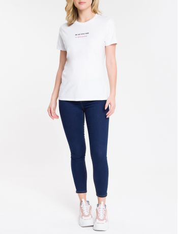 Calca-Jeans-Feminina-Five-Pockets-Super-Skinny-Barra-Lateral-Cintura-Media-Azul-Marinho-Calvin-Klein