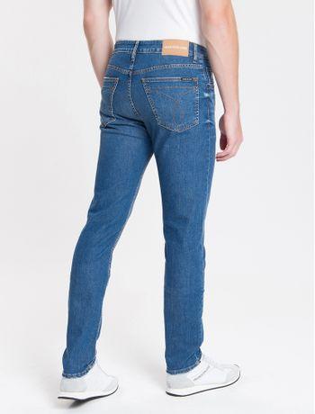 Calca-Jeans-Masculina-Five-Pockets-Slim-Amassado-Cintura-Baixa-Azul-Medio-Calvin-Klein