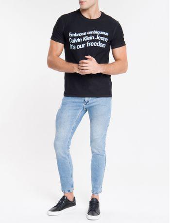 Calca-Jeans-Masculina-Five-Pockets-Slim-Cintura-Baixa-Azul-Claro-Calvin-Klein