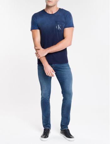 Calca-Jeans-Masculina-Skinny-Sculpted-Used-Cintura-Baixa-Azul-Marinho-Calvin-Klein