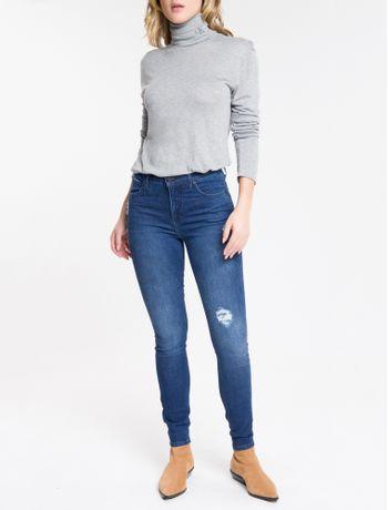 Calca-Jeans-Feminina-Five-Pockets-Body-Skinny-Cintura-Alta-Azul-Marinho-Calvin-Klein