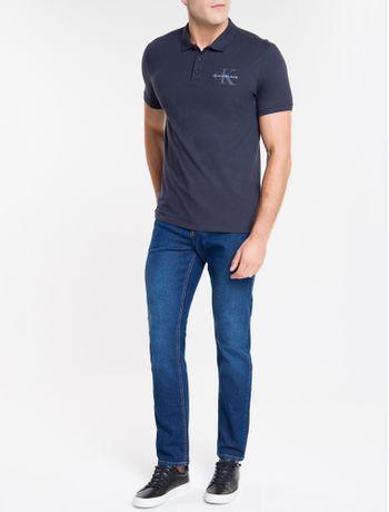 Calca-Jeans-Masculina-Five-Pockets-Reta-Cintura-Regular-Azul-Medio-Calvin-Klein